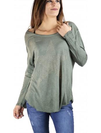 Tee shirt Imprimé Star Vert