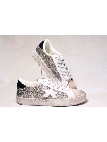 Sneakers Basket toile ARGENT