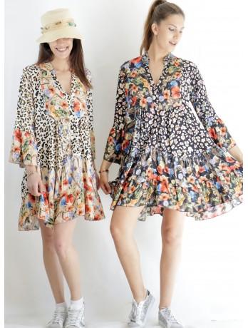 Robe motif léopard Fleurs