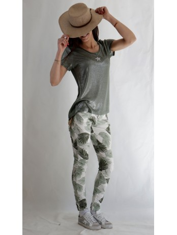 Pantalon imprimé feuillage...